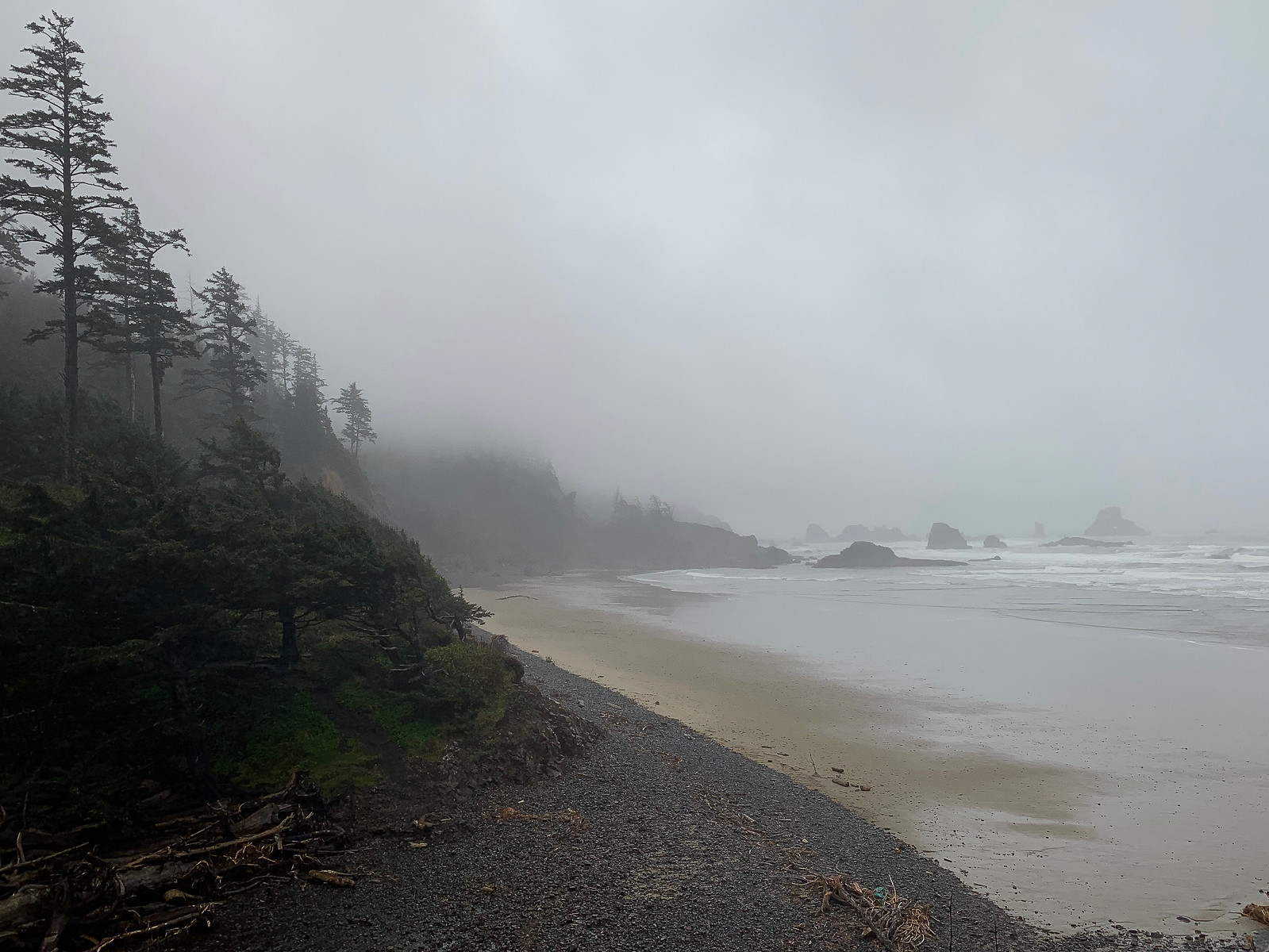 Misty low tide scene. View to the south. Forest on the right, surf and offshore rocks stretching to the left.
