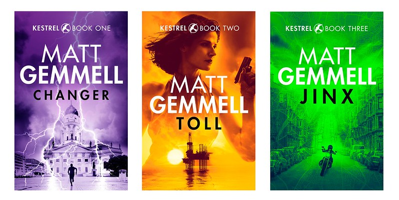 Covers for KESTREL books one, two, and three: CHANGER, TOLL, and JINX.