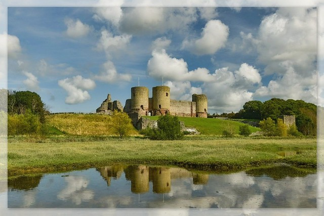 Rhuddlan Castle amongst the clouds.