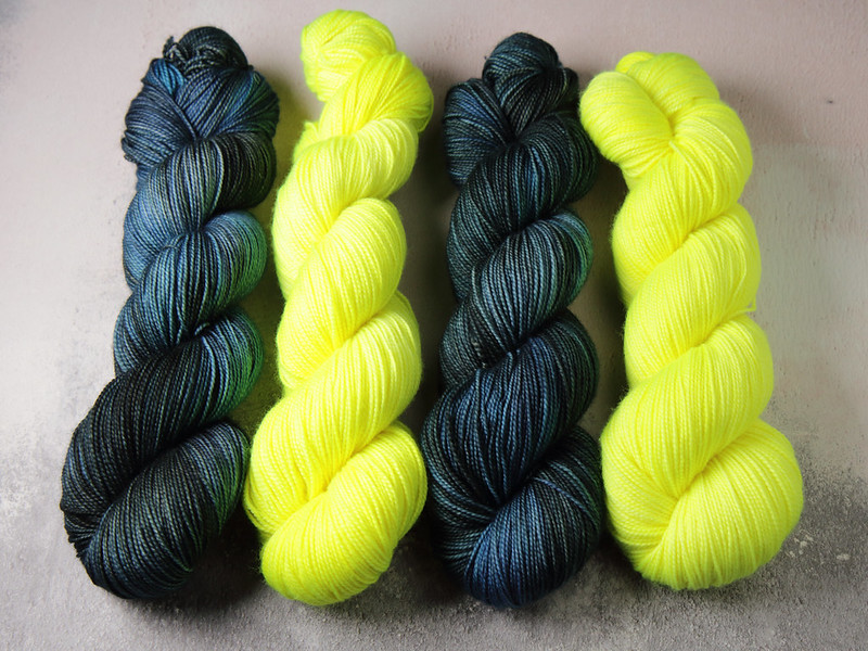 It's a Stitch Up Favourite Sock yarn in 'Inky' and 'Health and Safety Gone Mad'