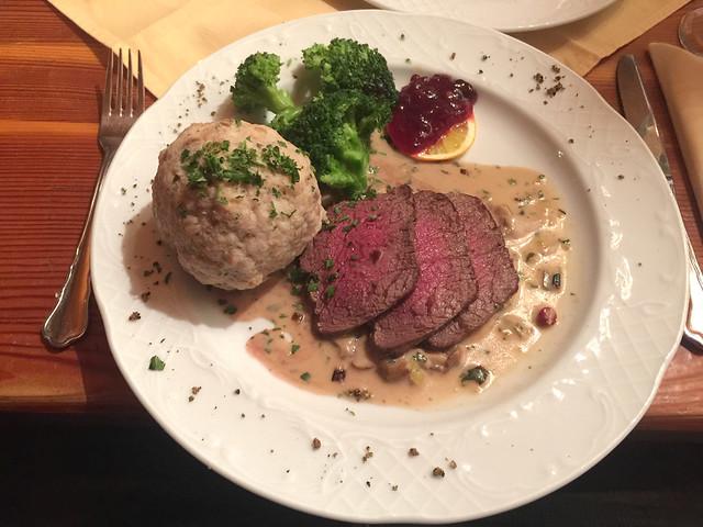 73 - Roast Venison with dumpling & mushroom sauce / Hirschbraten in Pilzsauce mit Semmelknödel - Wirtshaus Nattererboden