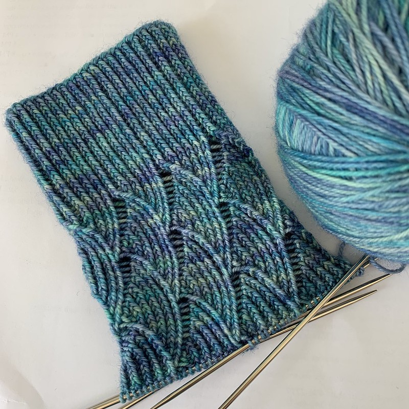Handknit sock in progress, showing the Pomatomus pattern's cuff and first few lace repeats on DPNs