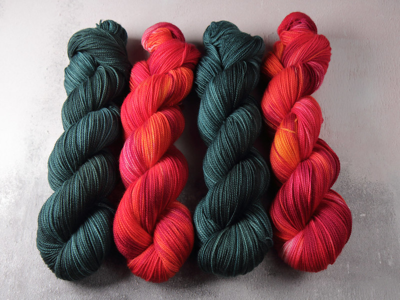 It's a Stitch Up Favourite Sock hand dyed yarn in 'Spirulina' and 'Momiji'