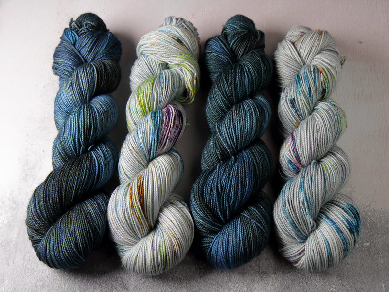 It's a Stitch Up Favourite Sock yarn in 'Inky' and 'Ore'