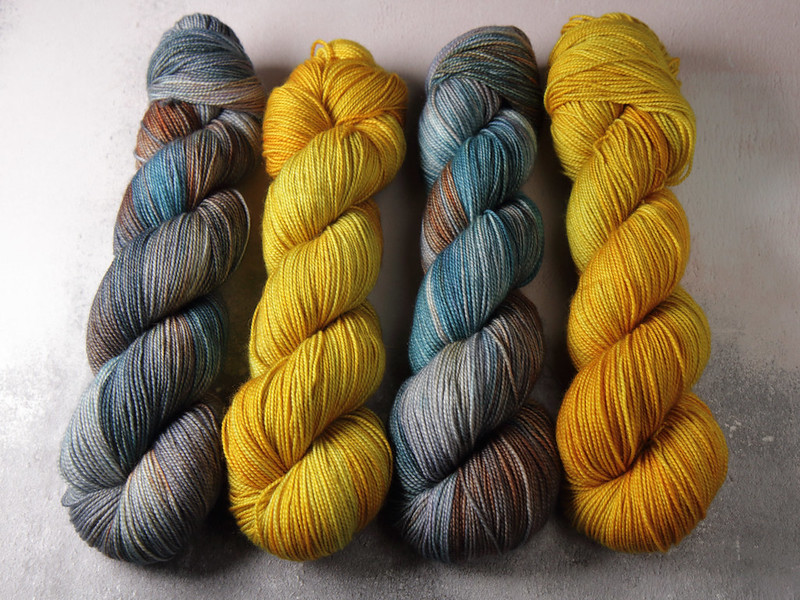It's a Stitch Up Favourite Sock yarn in 'Beachcombing' and 'Colonel Mustard'