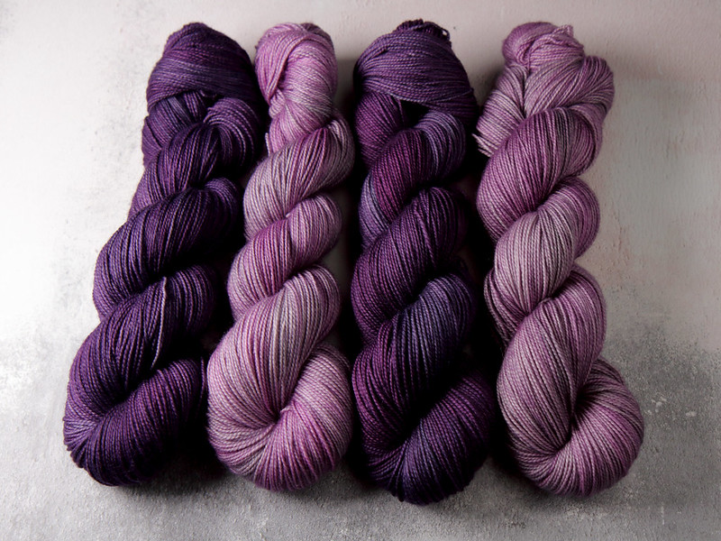 It's a Stitch Up Favourite Sock yarn in 'Brixton Purple' and 'Dirty Lilac'
