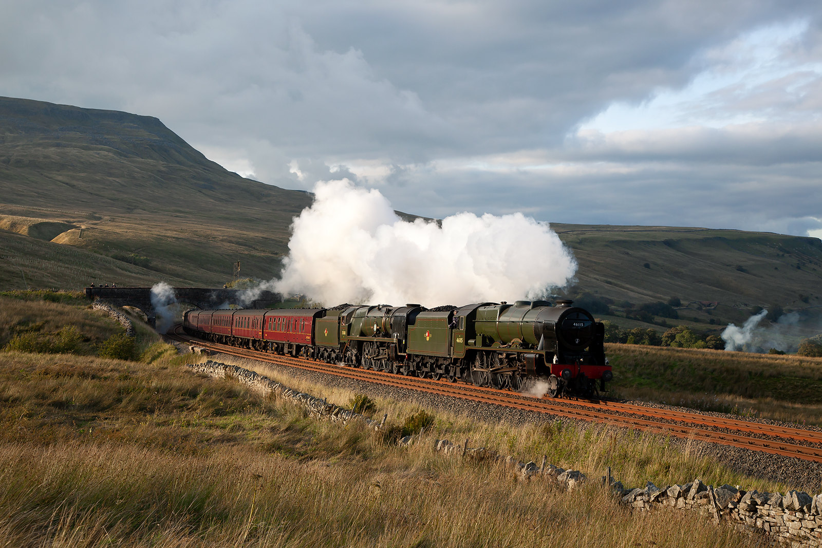 It was no surprise with the pairing of 46115 'Scots Guardsman' and 35018 'British India Line' that the 13 coach Waverley charter of 8th September 2019 sailed over the summit at Ais Gill effortlessly. An unusual combination to say the least, but a fine pairing in matching BR green livery.