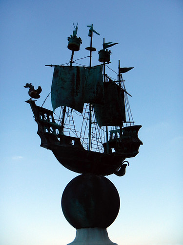 A fanciful sailing ship decorates a pillar in Portmeirion in Wales