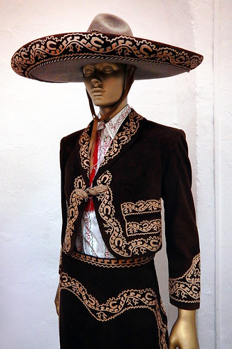 Traditional indigenous suit of the Mariachis and cowgirls of the ranching areas of the state of Jalisco. In Puebla Museum in Mexico