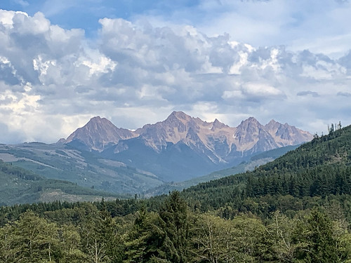 mountains northcascadesnationalpark mountainrange trees cloudy summerday sceniclandscape nature beauty green