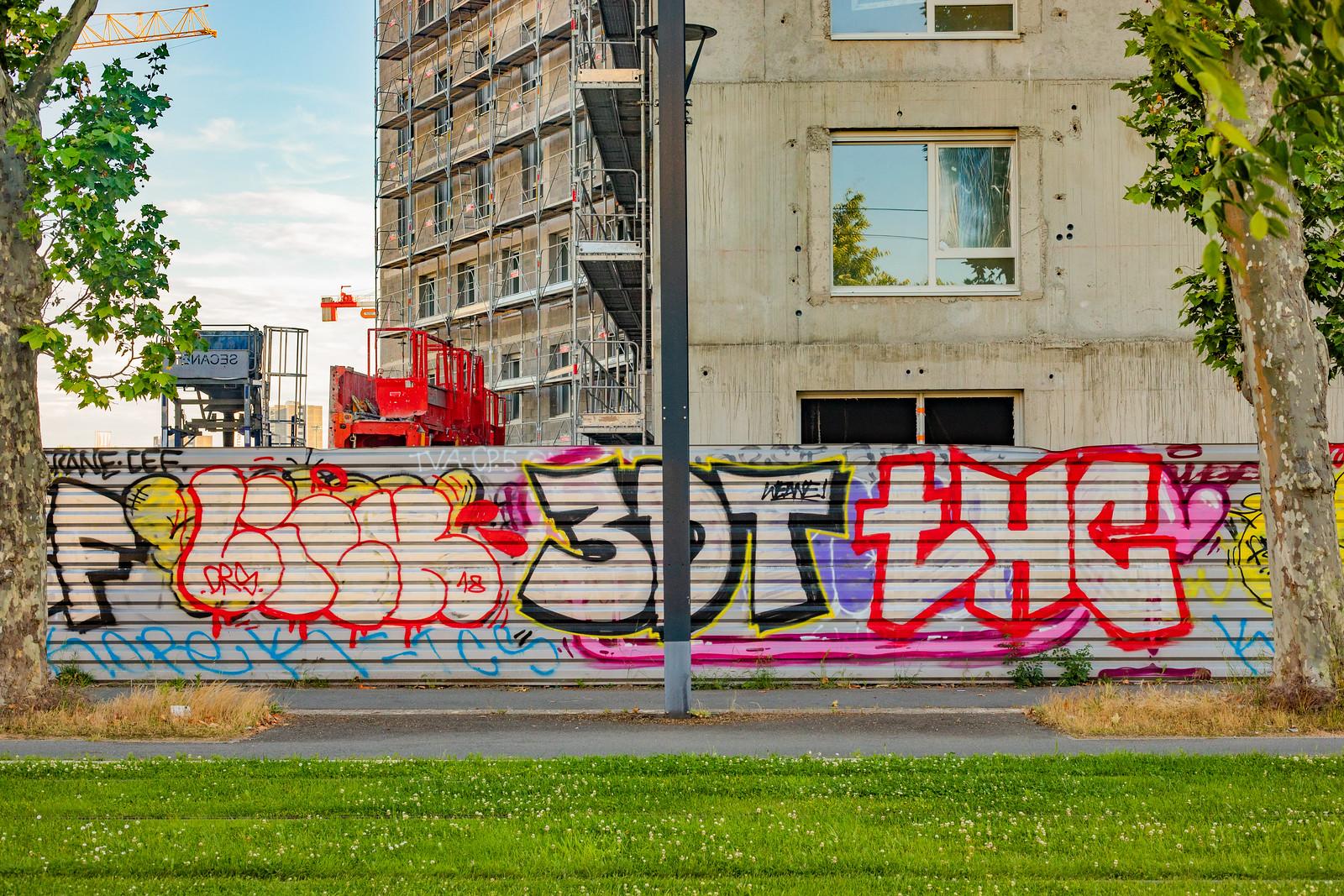 Peintures sauvage sur palissades à la Cartoucherie, Toulouse 2019