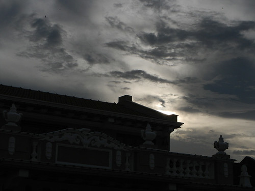 Silhouette of a building against a dark sky in Penang, Malaysia