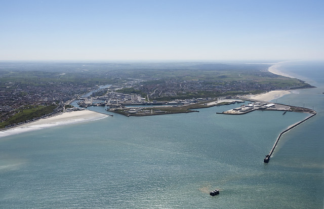 Boulogne-sur-Mer at the mouth of the river Liane in France - aerial image