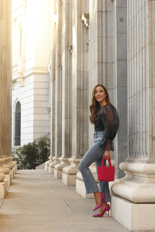 black organza top puffed sleeves pink bag carolina herrera heels street style outfit13