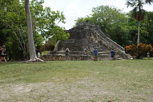 Temple of the Vessels with Thatched Roof protected area in the back. From History Comes Alive at the Chacchoben Ruins Near Puerto Costa Maya