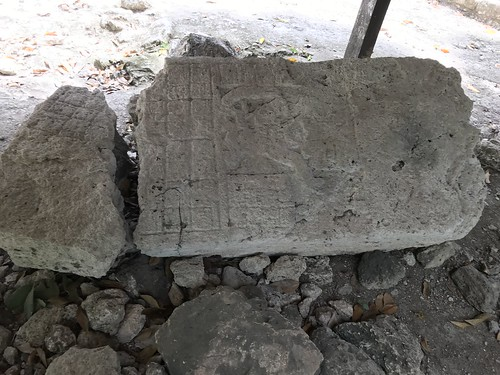 Stone Tablets with Ancient Writing. From History Comes Alive at the Chacchoben Ruins Near Puerto Costa Maya