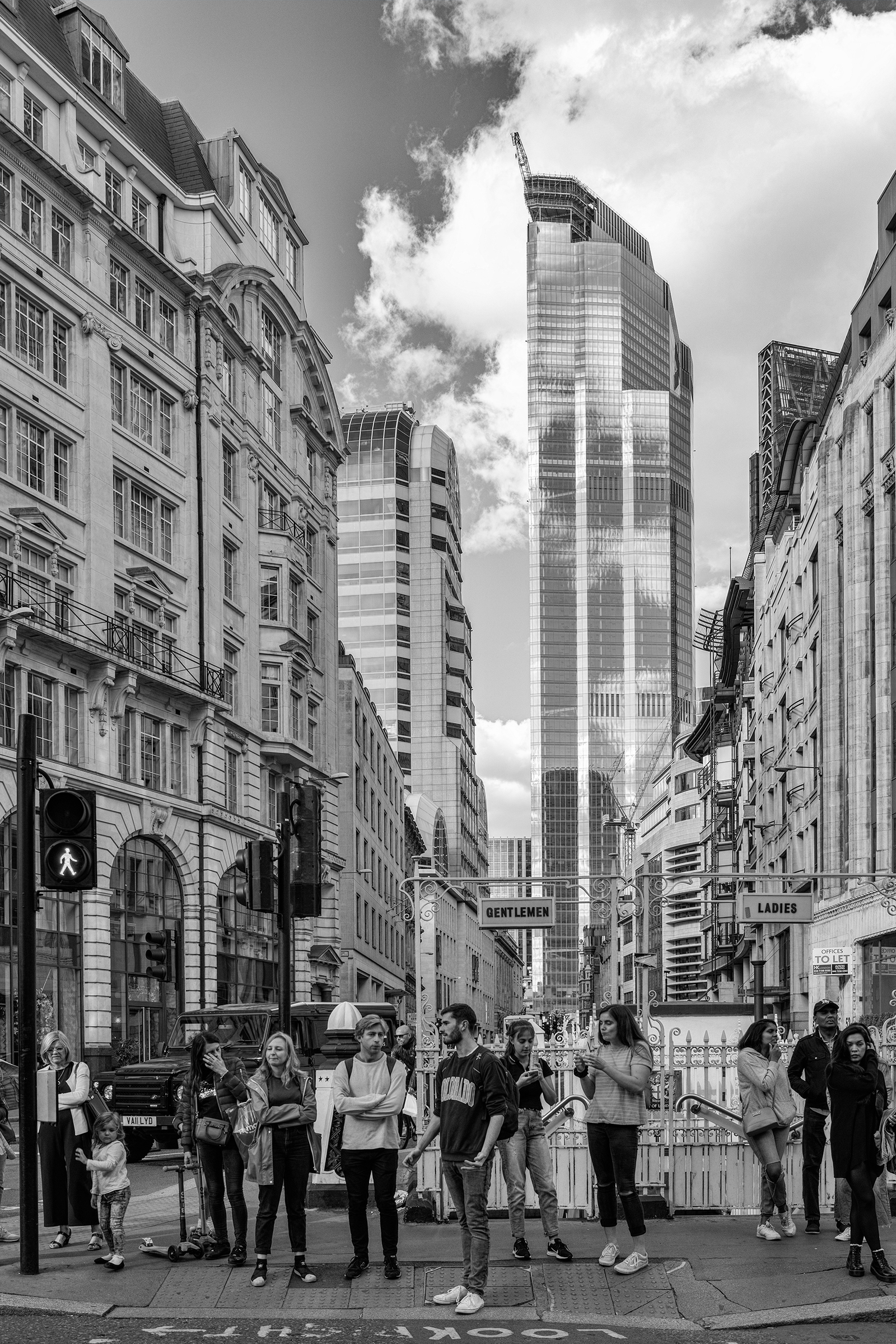 Eastcheap, London looking up Gracechurch Street with the TwentyTwo 22 Bishopsgate skyscraper in the background