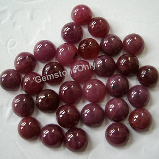 natural ruby cabochon round loose gemstone