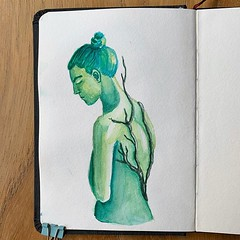 Growth. Continuing working out some concepts in my little watercolor sketchbook. I am enamored with the idea of vines growing on a person. #watercolor #sketchbook #aquarelle #hanhemühlewatercolorsketchbook #watercolour #danielsmithwatercolors #greenlady #