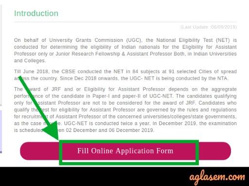 UGC NET Apply Button
