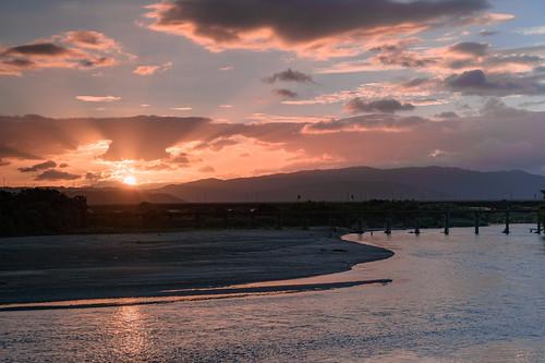 城陽市 京都府 日本 川 river 木津川 japan 夕景 sunset 橋 流れ橋 bridge kyoto