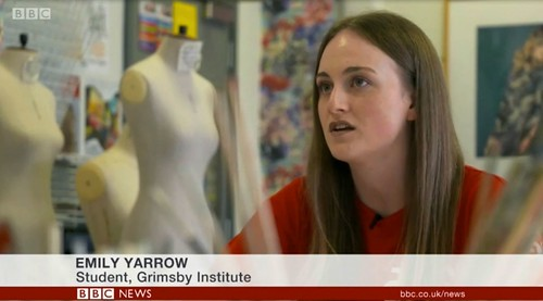 Grimsby Institute project participant speaking on BBC news