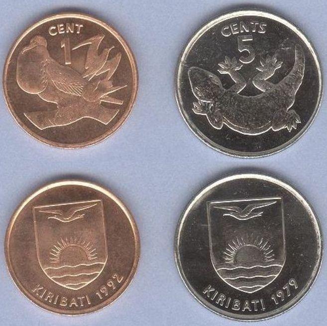 Kiribati 1-5 Cents 1979-1992 UNC, sada mincí