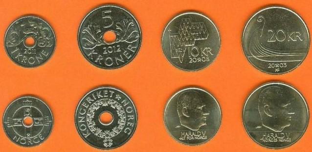 Nórsko 1-5-10-20 Kroner 2003-2012