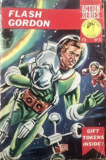 Vintage sci-fi book cover Flash Gordon. Gold Token 60s