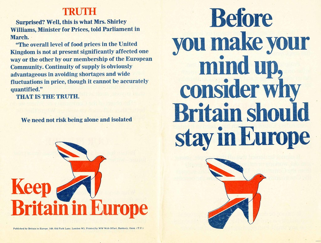 Before you make your mind up, consider why Britain should stay in Europe leaflet.  Britain in Europe.  Referendum on the European Community (Common Market).  1975