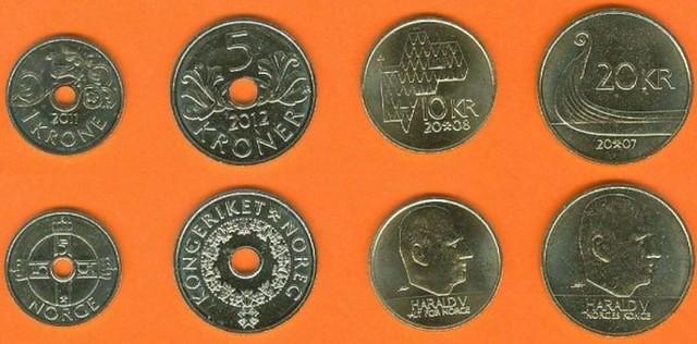 Nórsko 1-5-10-20 Kroner 2007-2012 UNC, sada mincí