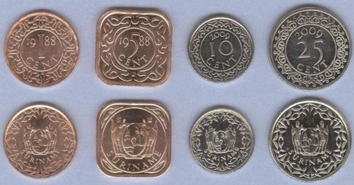 Surinam 1-5-10-25 Cents 1988-2009 UNC, sada mincí