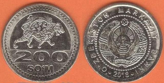 Uzbekistan 200 So'm 2018 UNC, obehová minca