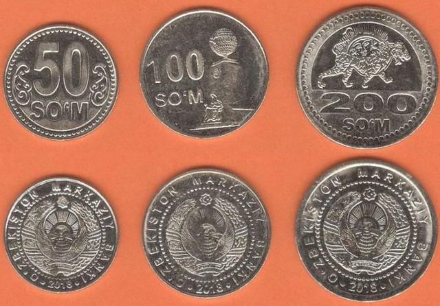 Uzbekistan 50-100-200 So'm 2018 UNC, sada mincí