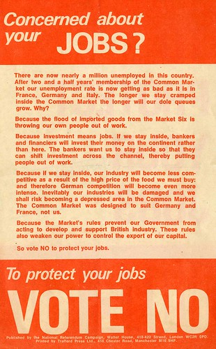 To Protect your Jobs Vote No.  National Referendum Campaign leaflet.  Referendum on the European Community (Common Market).  1975 | by Scottish Political Archive