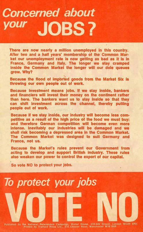 To Protect your Jobs Vote No.  National Referendum Campaign leaflet.  Referendum on the European Community (Common Market).  1975