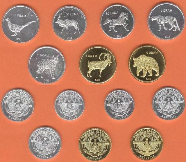 Náhorný Karabach 50-50 Luma + 1-1-1-5-5 Dram 2013 UNC, sada mincí