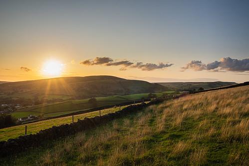Sunset over Hayfield, Derbyshire