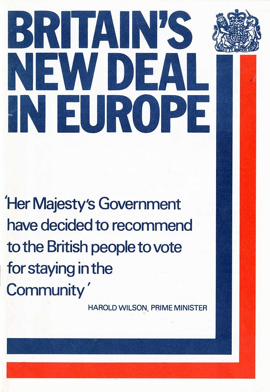 Britain's New Deal in Europe pamphlet.  Referendum on the European Community (Common Market).  HMSO.  1975