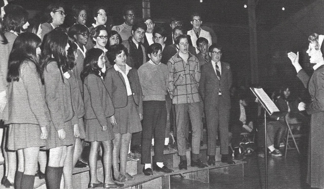Sister Michon, RSM directs the freshman choir for their first public appearance  in 1970 at St. Joseph High School in Denver, Colorado