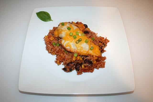 17 - Mexican chicken rice casserole - Served / Mexikanischer Hähnchen-Reis-Auflauf - Serviert