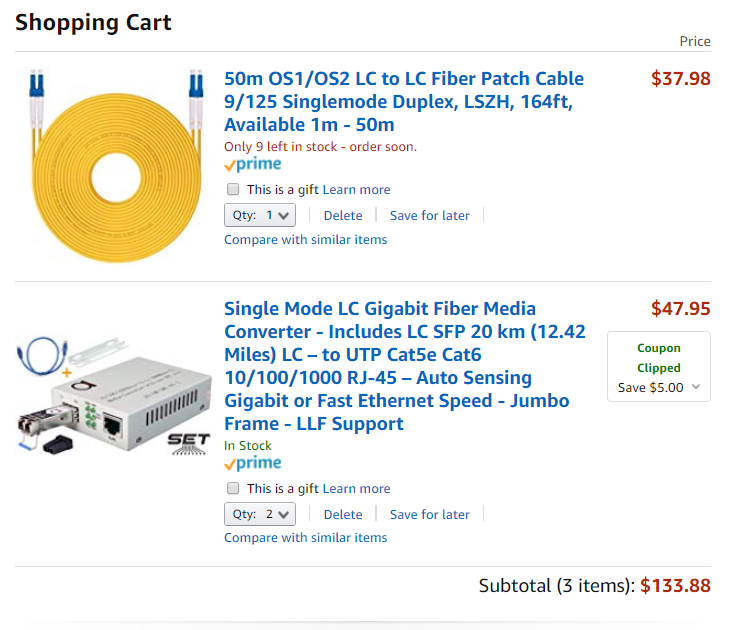 Fiber Media Converter Experience/Suggestions (building to