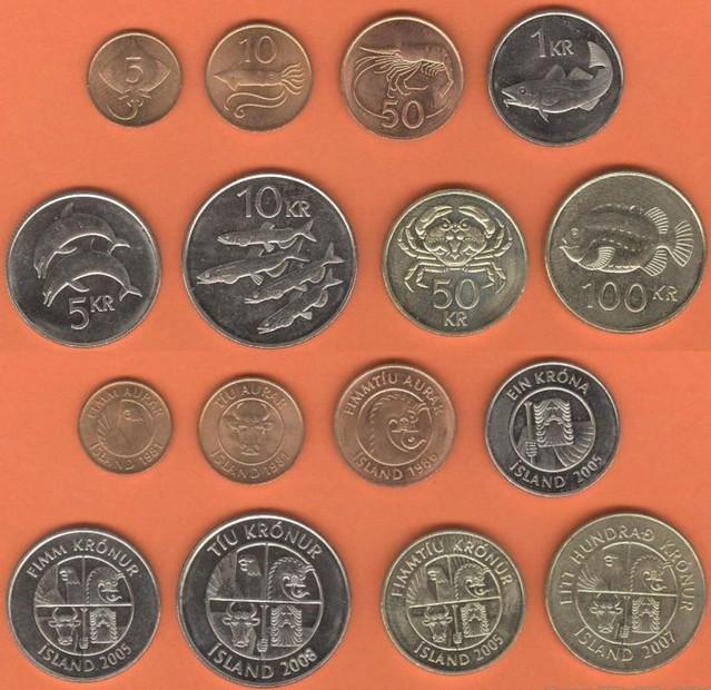 Island 5-10-50 Aurar + 1-5-10-50-100 Kroner 1981-2008 UNC, sada mincí