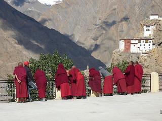 Buddhist monks at Dhankar gompa