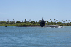 USS Olympia (SSN 717) transits into Joint Base Pearl Harbor-Hickam upon return from deployment, Sept. 8. (U.S. Navy/MC1 Amanda Gray)