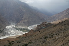 Dhankar and the confluence of Spiti and Pin river