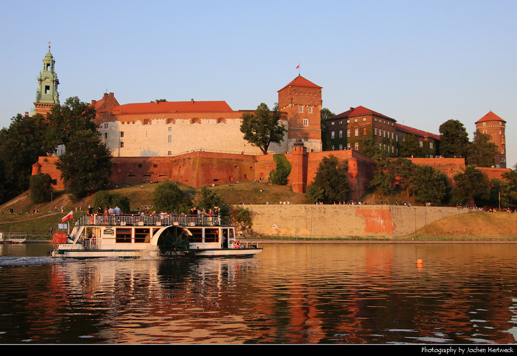 Wawel seen from the right bank of the Vistula river, Krakow, Poland