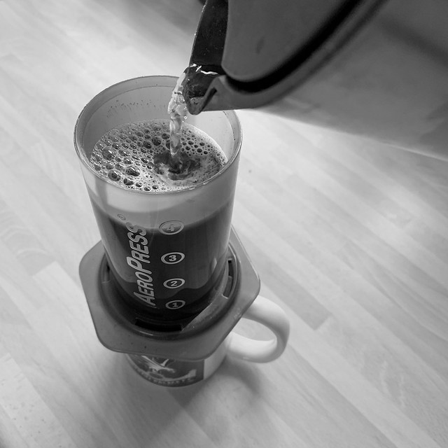 Making my morning coffee