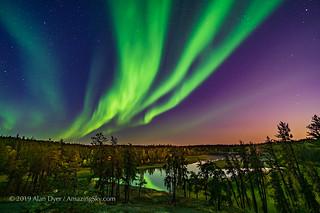 Aurora over Cameron River in Moonlight