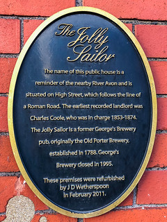 The Jolly Sailor  The name of this public house is a reminder of the nearby River Avon and it situated on High Street, which follows the line of a Roman Road.  The earliest recorded landlord was Charles Coole, who was in charge 1853-1874.  The Jolly Sailo